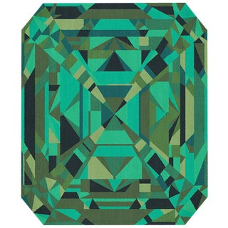 Hand Tufted Wool Gems Collection Emerald Rug - 6′7″ × 9′10″ For Sale