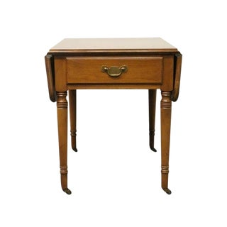 20th Century Traditional Statton TruType Solid Cherry Drop Leaf Pembroke End Table For Sale