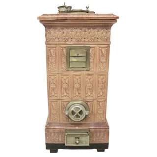 19th Century Antique French Majolica Porcelain Ceramic Heating Stove For Sale