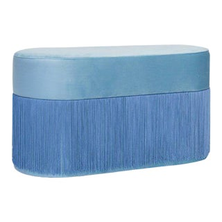 Pouf Pill Large Light Blue in Velvet Upholstery With Fringes For Sale