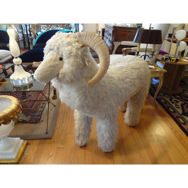 Large Claude Lalanne inspired realistic sheep or lamb sculpture, bench or ottoman made of wood and covered with genuine...