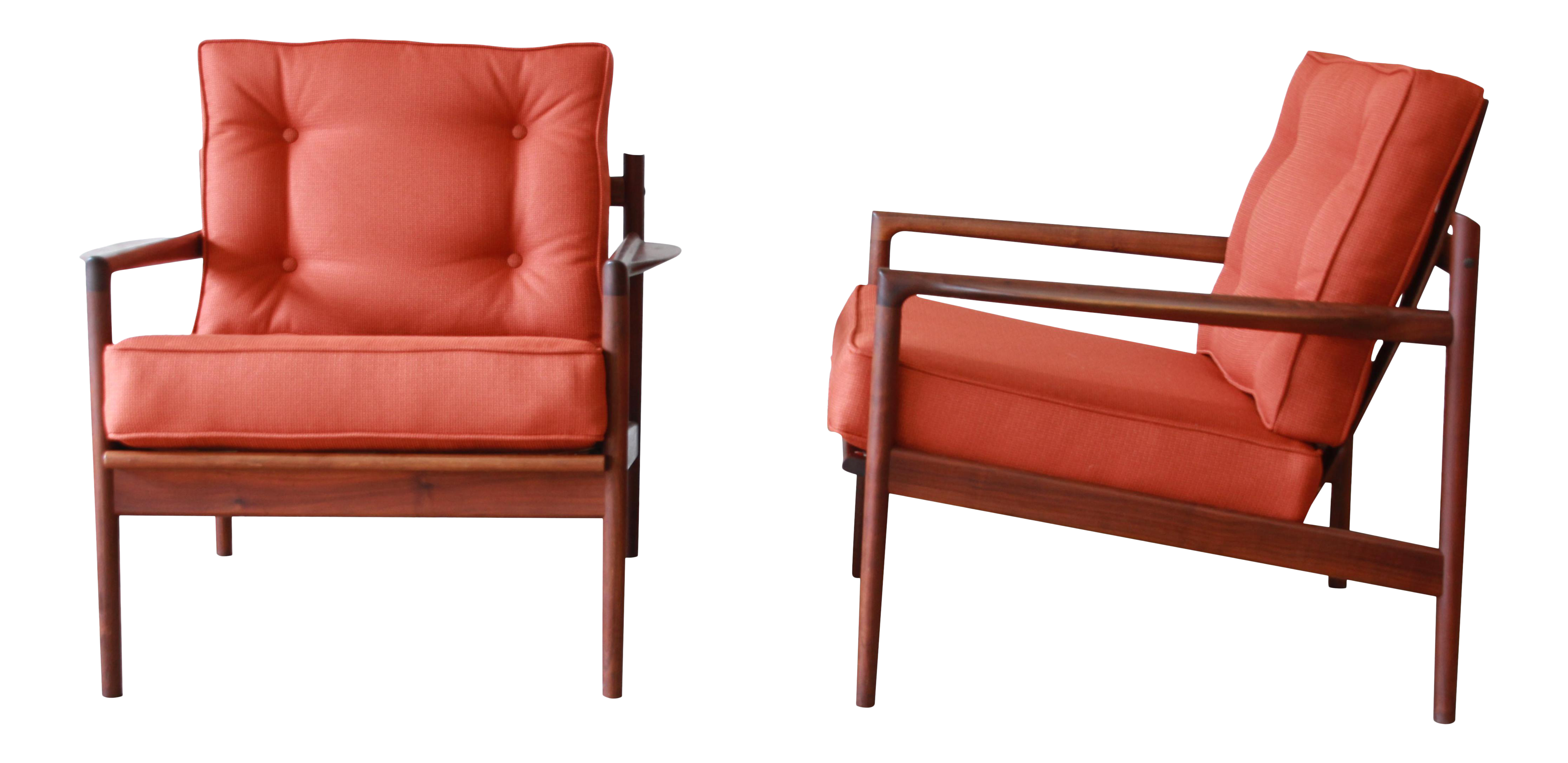 Danish Modern Picket Back Lounge Chairs By Ib Kofod Larsen For Selig, A Pair