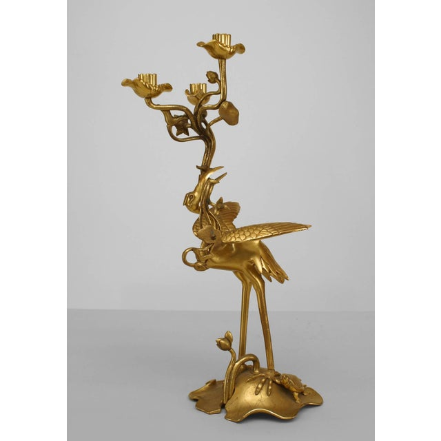 Pair of 19th Century English Regency Bronze Doré Heron Candelabra For Sale - Image 4 of 7