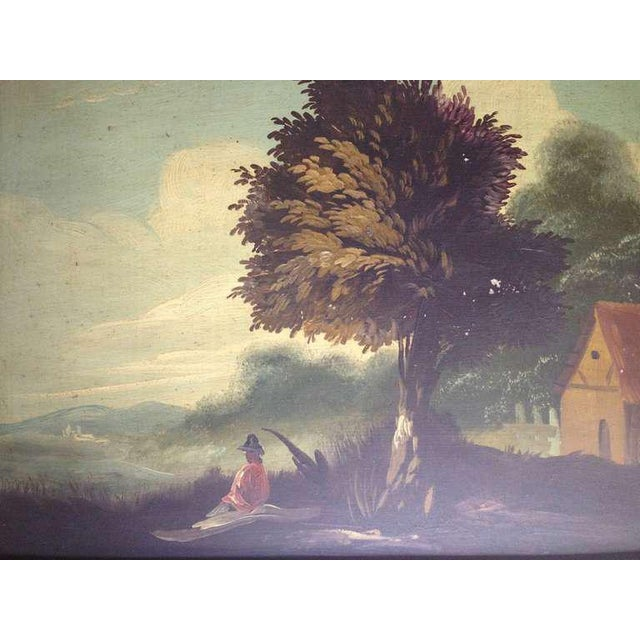 Gesso Pair of 19th Century Italian Landscapes For Sale - Image 7 of 9
