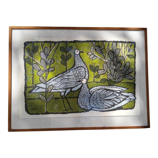 Mid-Century Pigeons Gouache For Sale