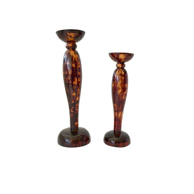 Hollywood Regency Vintage Lucite Candlesticks - a Pair For Sale - Image 3 of 3