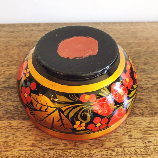 Paint Russian Lacquerware Painted Bowl For Sale - Image 7 of 8
