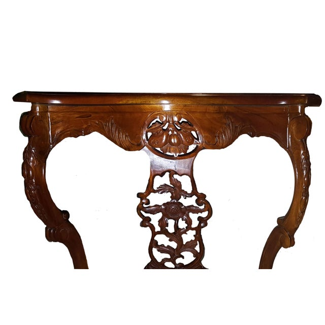 Mahogany Hollywood Regency Style Demi-Lune Entrance Table For Sale - Image 4 of 6