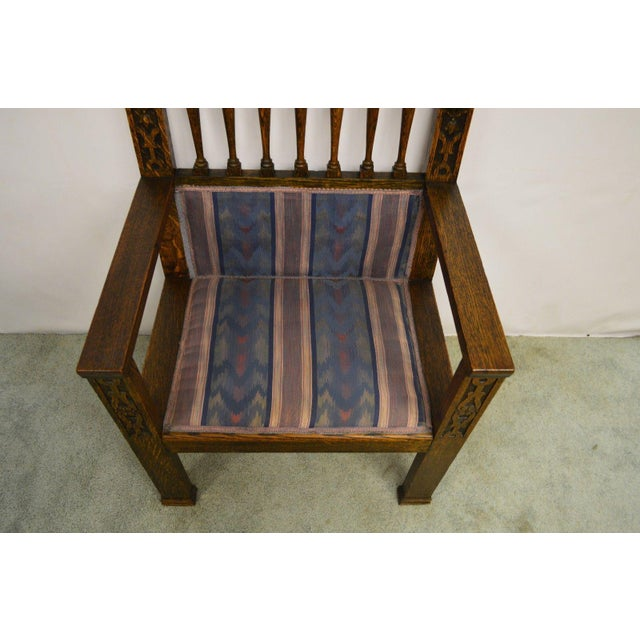 Antique Wind Man Carved Oak Library Armchair - Image 7 of 11