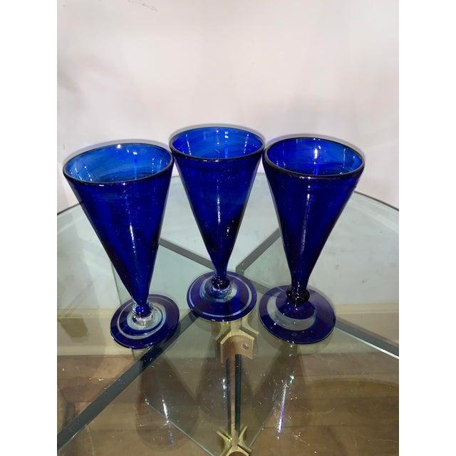 Vintage Cobalt Blue Shrub Glasses - Set of 10 For Sale In Los Angeles - Image 6 of 11