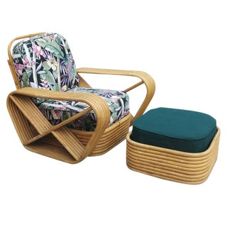 Restored Paul Frankl Style Six-Strand Square Pretzel Rattan Lounge Chair & Ottoman