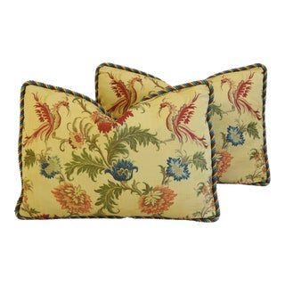 "Italian Old World Coraggio Jacquard Feather/Down Pillows 24"" X 17"" - Pair For Sale"