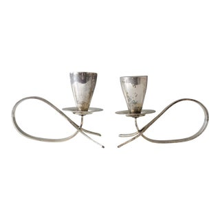 2 Mexican Silver Plated Candle Holders Modernist Mid Century For Sale