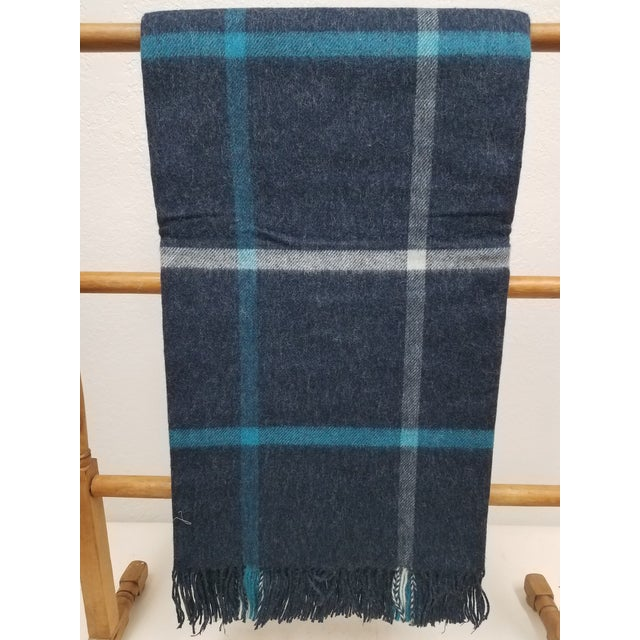Merino Wool Throw Blue and Aqua - Made in England For Sale - Image 9 of 9