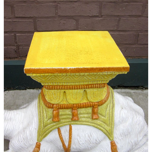 Boho Chic 1970s Vintage Italian Majolica Glazed Terra Cotta Ceramic White and Yellow Hand Painted Camel Statue Garden Seat For Sale - Image 3 of 11