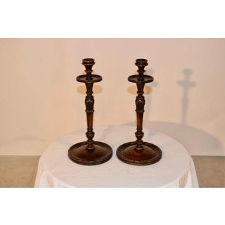 19th Century Carved Oak Candlesticks - a Pair Preview