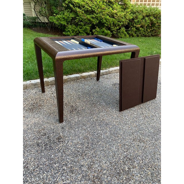 Vintage Karl Springer Grasscloth Covered Backgammon Table For Sale - Image 11 of 11