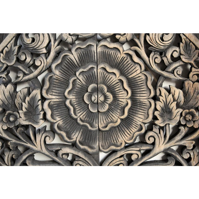 Hand carved teak medallion panel are a traditionally made by Burmese artisans with intricate floral designs and antiqued...