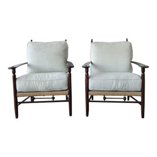 Americana Classical Style Wicker and Wood Side Chairs - a Pair