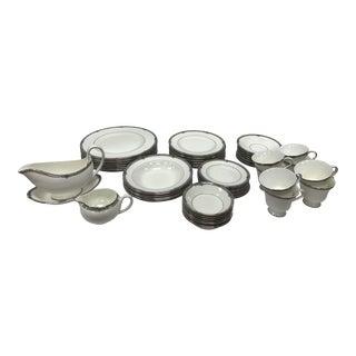 1980s Wedgwood Amherst Bone China Platinum Trim - Set of 57 For Sale