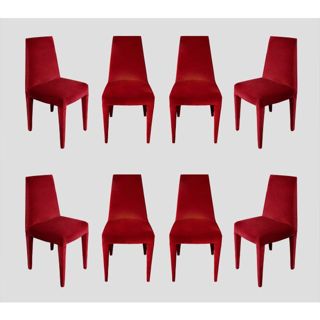 1970s 1970s Vintage Stiletto Velvet Dining Chairs - Set of 8 For Sale - Image 5 of 5