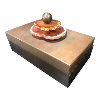 1960s Vintage Italian Mid Century Metal and Agate Box For Sale