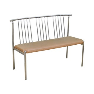 Brody Mid Century Modern Spindle Back Chrome Settee Bench For Sale