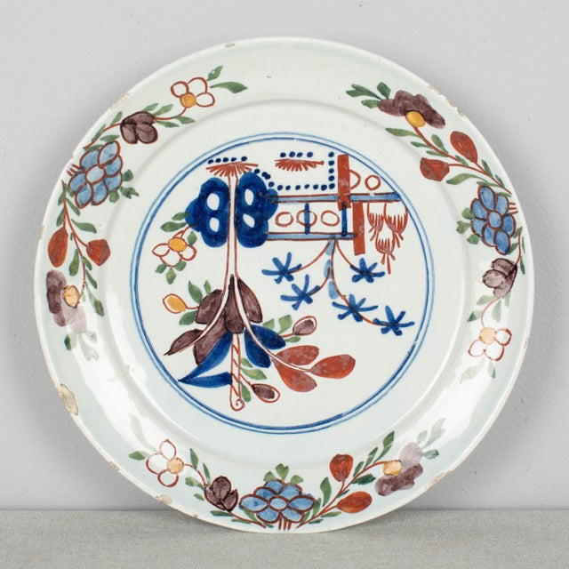 18th Century Delft Ceramic Plate For Sale - Image 4 of 6