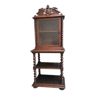 Antique French Carved Oak Barley Twist Display Cabinet Shelf Bookcase Buffet For Sale