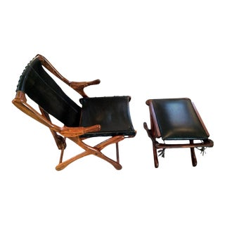 Rosewood and Leather Lounge Chair with Ottoman Don Shoemaker - Pair For Sale