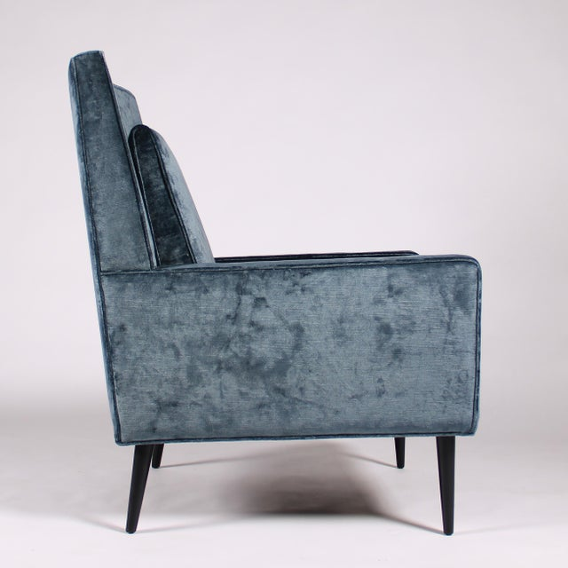 1950s Blue Velvet Lounge Chair and Ottoman For Sale In New York - Image 6 of 11