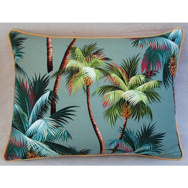 "Oasis Palm Tree Barkcloth Feather/Down Pillows 24"" X 18"" - Pair For Sale - Image 4 of 11"