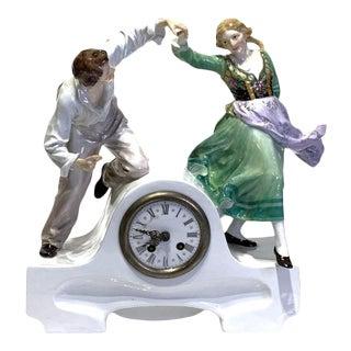 Meissen Art Nouveau Figural Clock by Paul Helmig (1859-1939) For Sale