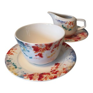 Villeroy & Boch Abstract Colorful Sugar & Creamer Dishes - a Pair