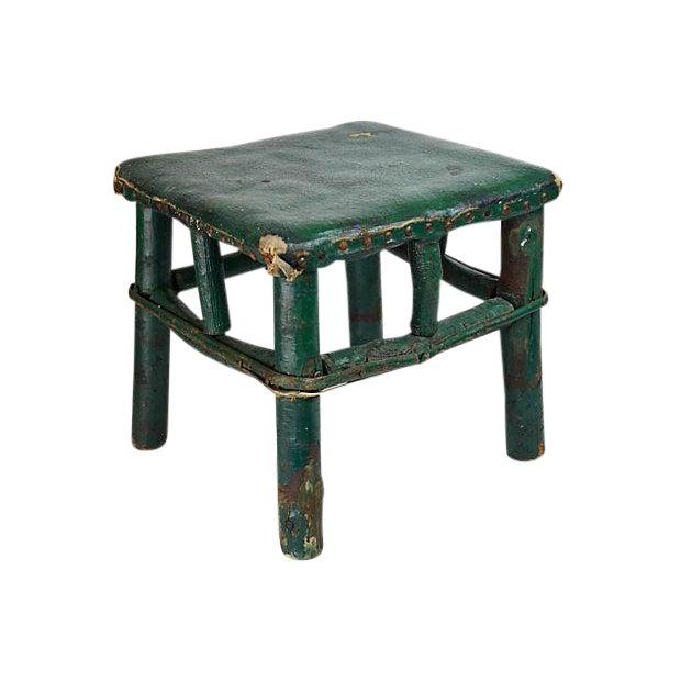 Adirondack Twig & Leather Footstool - Image 1 of 5