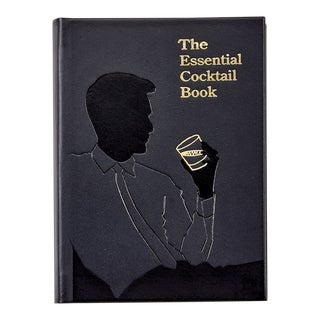 """""""The Essential Cocktail Book"""", Genuine Leather Book in Black For Sale"""