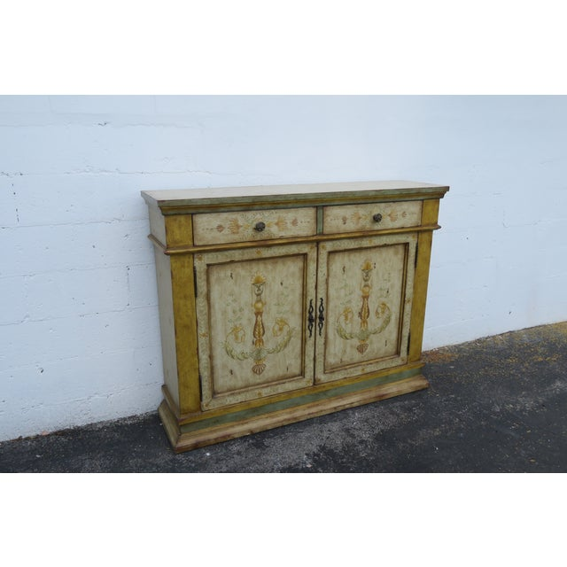 French Shabby Shic Painted Distressed Tall Sideboard Buffet Narrow Console 2154 For Sale - Image 11 of 13