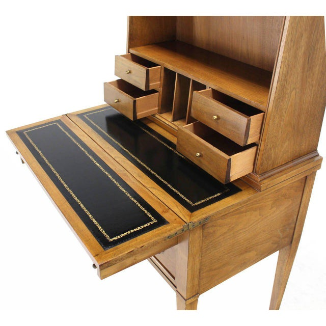 Baker Furniture Company Transitional Baker Modern Petite Secretary With Bookcase on Slim Legs For Sale - Image 4 of 10