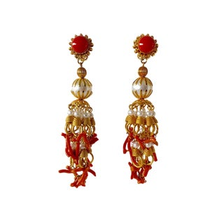 Vintage Pearl and Coral Chandelier Statement Earrings For Sale