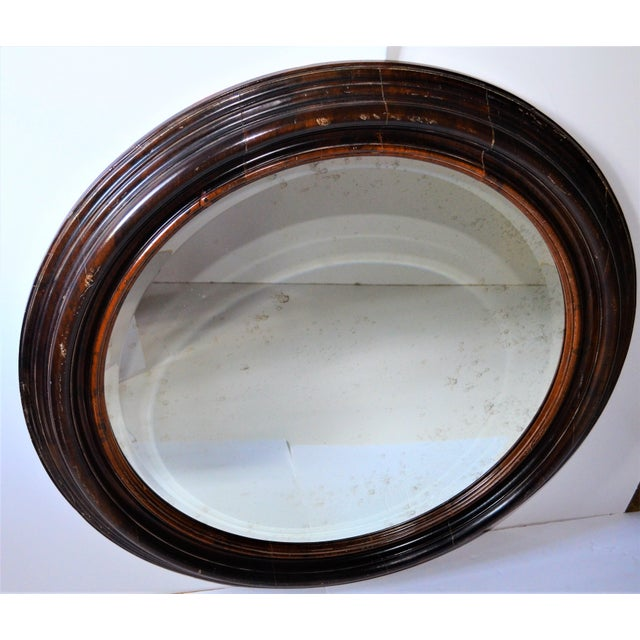 Baker Furniture Round Distressed Solid Maple Mirror For Sale In Houston - Image 6 of 11