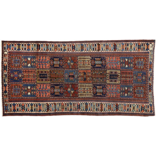 "Antique Bakhtiari Pink and Blue Wool Rug - 5'1"" X 10'4"" For Sale In Dallas - Image 6 of 7"