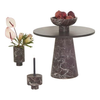 Modern Coffee Table With Accessories in Red and Black Marble, by Karen Chekerdjian - Set of 4 For Sale