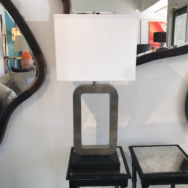 Modern Nickel & Black Table Lamp - Image 7 of 7