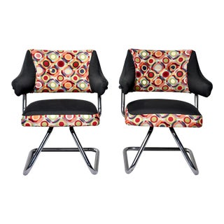Pair Italian Mid Century Swivel Chairs With Chrome Base and Missoni Style Fabric For Sale