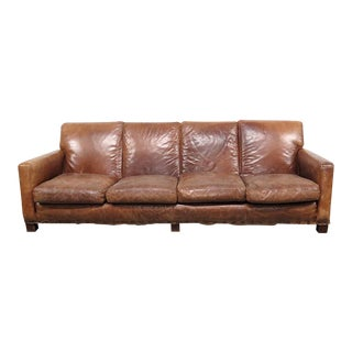 Vintage Ralph Lauren Mid-Century Modern Leather Sofa For Sale