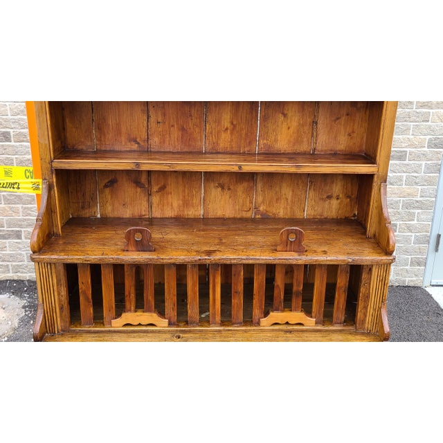 Rustic Antique 19th Century Irish Pine 2 Part Chicken Coop Cupboard Cabinet Hutch For Sale - Image 3 of 13