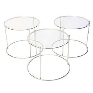 Round Polished Chrome Nesting Tables - Set of 3 For Sale