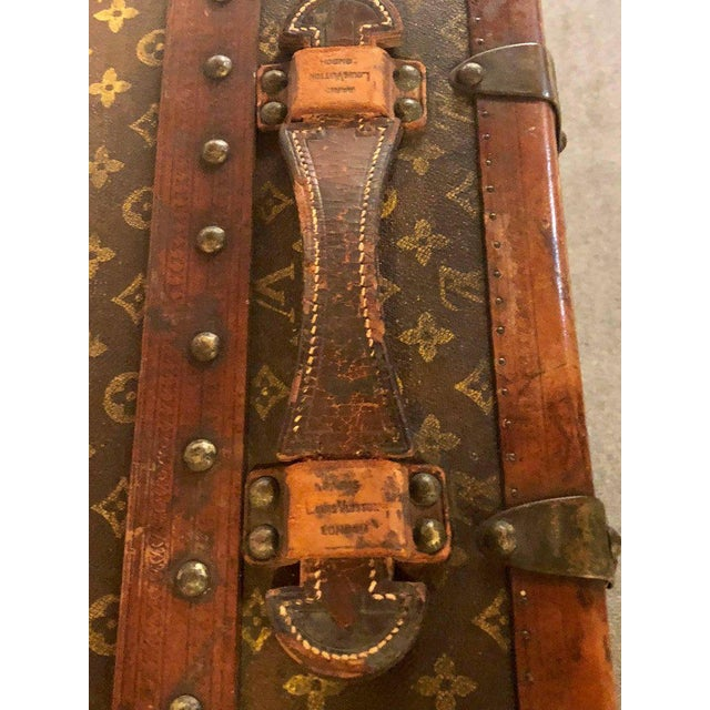 Metal Louis Vuitton Trunk Steamer Wardrobe Trunk Interior Fitted John Wanamaker Label For Sale - Image 7 of 13