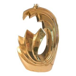 Glam 1970s Pierre Cardin Mid-Century Tidal Wave Brass Lamp For Sale