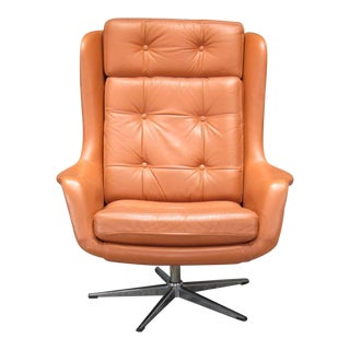Leather High Back Swivel Armchair For Sale